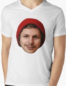 Michael Cera's Face in a Beanie Mens V-Neck T-Shirt