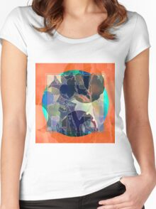 Abstraction on Orange: Maps & Apps Series Women's Fitted Scoop T-Shirt