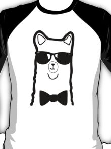 Hipster Alpaca – Face Close Up - Cute Kids Cartoon Character T-Shirt
