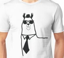 Hipster Llama - Face Close Up - Cute Kids Cartoon Character Unisex T-Shirt