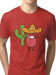Little Mexican Jumping Bean - Cute Kids Cartoon Character Tri-blend T-Shirt
