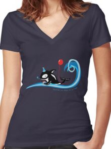Having an Orca of a Time - Cute Kids Cartoon Character Women's Fitted V-Neck T-Shirt