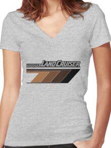 Land Cruiser body art series, brown arrows.  Women's Fitted V-Neck T-Shirt