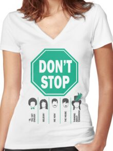 Don't Stop... Music Poster - Michael Jackson, Queen, Rihanna, Journey, Fleetwood Mac Women's Fitted V-Neck T-Shirt
