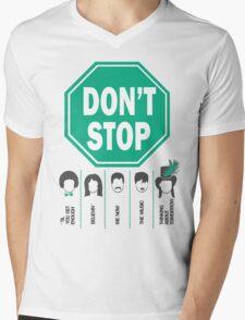 Don't Stop... Music Poster - Michael Jackson, Queen, Rihanna, Journey, Fleetwood Mac Mens V-Neck T-Shirt