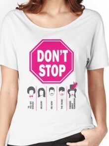 Don't Stop... (Pink Color) - Music Poster - Michael Jackson - Queen - Rihanna - Journey - Fleetwood Mac Women's Relaxed Fit T-Shirt