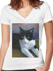 Cat 577 Tuxedo Women's Fitted V-Neck T-Shirt