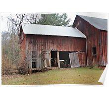 Old Red Weathered Barn Poster