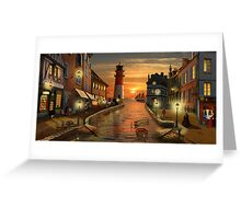 Nostalgic harbor at sunset  Greeting Card
