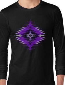 Purple Native American Southwest-Style Sunburst Long Sleeve T-Shirt