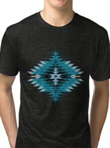 Native American Southwest-Style Turquoise Sunburst Tri-blend T-Shirt