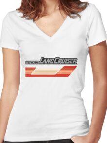 Land Cruiser body art series, red gold stripe.  Women's Fitted V-Neck T-Shirt