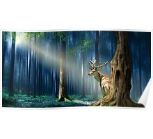 The deer in the mystical forest  Poster