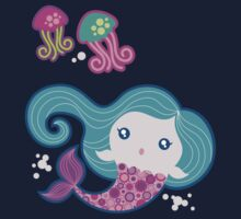 Lil' Blue Mermaid and Jellyfishes Kids Tee