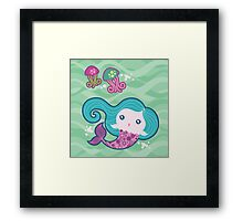 Lil' Blue Mermaid and Jellyfishes Framed Print