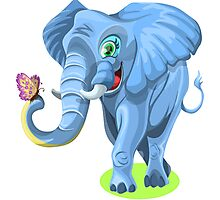 Elephant Cartoon Photographic Print