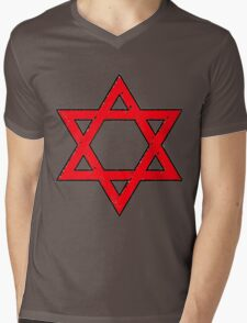 Star of David in the Red Mens V-Neck T-Shirt
