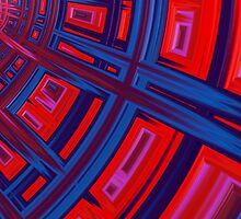 Abstract in Red and Blue by John Edwards