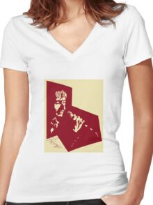 Our Mutual Friend - dark red/light yellow Women's Fitted V-Neck T-Shirt