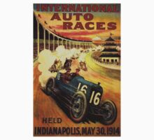 """INTERNATIONAL AUTO RACES"" Advertising Print Kids Tee"