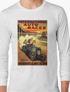"""INTERNATIONAL AUTO RACES"" Advertising Print Long Sleeve T-Shirt"