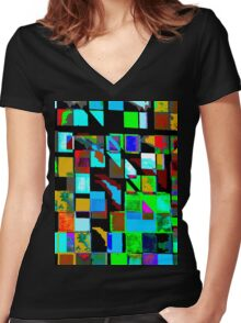 Mixed Pattern Women's Fitted V-Neck T-Shirt