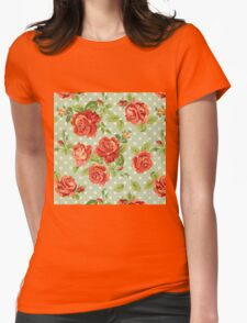 shabby chic,red roses,mint,white,polka dots,vintage,rustic, Womens Fitted T-Shirt