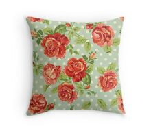 shabby chic,red roses,mint,white,polka dots,vintage,rustic, Throw Pillow