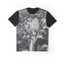 Grey scale Sunflower Graphic T-Shirt