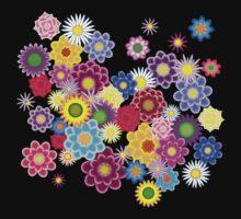 Bright Floral on Black Kids Tee