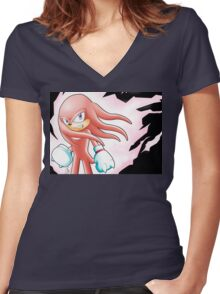 Hyper Knuckles the Echidna Women's Fitted V-Neck T-Shirt