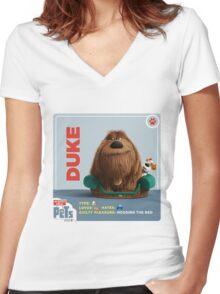 The Secret Life Of Pets Duke Women's Fitted V-Neck T-Shirt