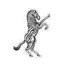 Zebra Rampant - White Background by Tania  Donald