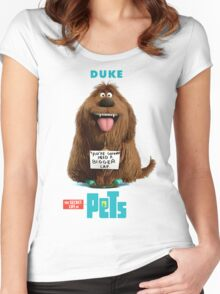 The Secret Life Of Pets Duke The Dog Women's Fitted Scoop T-Shirt