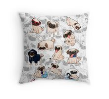 a lot of pugs Throw Pillow
