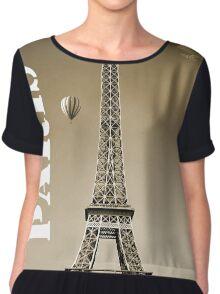 Paris France Eiffel Tower Sepia Chiffon Top