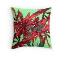 Bunch of Metallic Red Flowers Throw Pillow