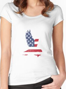 American Flag, Patriotic Eagle Women's Fitted Scoop T-Shirt