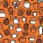 Kitchen Teapots - Orange by Andrea Lauren by Andrea Lauren