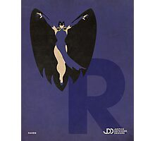 Raven - Superhero Minimalist Alphabet Print Art Photographic Print