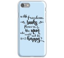books, flowers and the moon iPhone Case/Skin