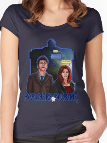 Partners In Crime Doctor Who Tenth Doctor Donna Noble David Tennant Catherine Tate #DTfan4life  Women's Fitted Scoop T-Shirt