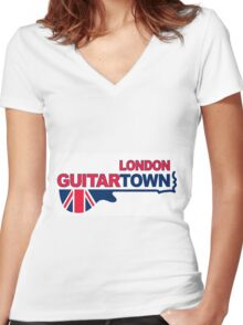 Flag and Music Women's Fitted V-Neck T-Shirt