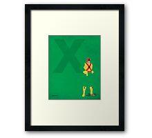 Captain X - Superhero Minimalist Alphabet Print Art Framed Print