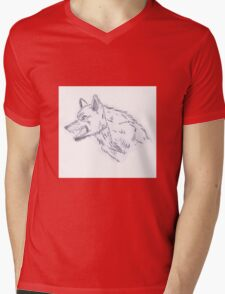 Growling wolf Mens V-Neck T-Shirt