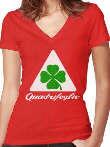 Quadrifoglio Alfa Fill Graphic Print Women's Fitted V-Neck T-Shirt