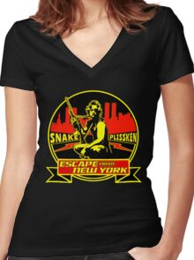 Snake Plissken (Escape from New York) Badge Colour Women's Fitted V-Neck T-Shirt