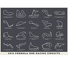 Formula One Track Maps - Dark Photographic Print