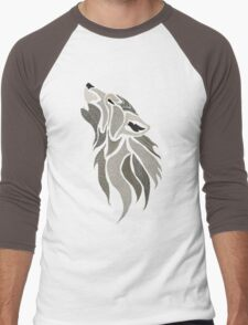 Howling Wolf on Black Men's Baseball ¾ T-Shirt