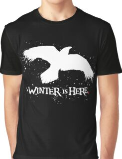 Winter is Here - Large Raven on Black Graphic T-Shirt